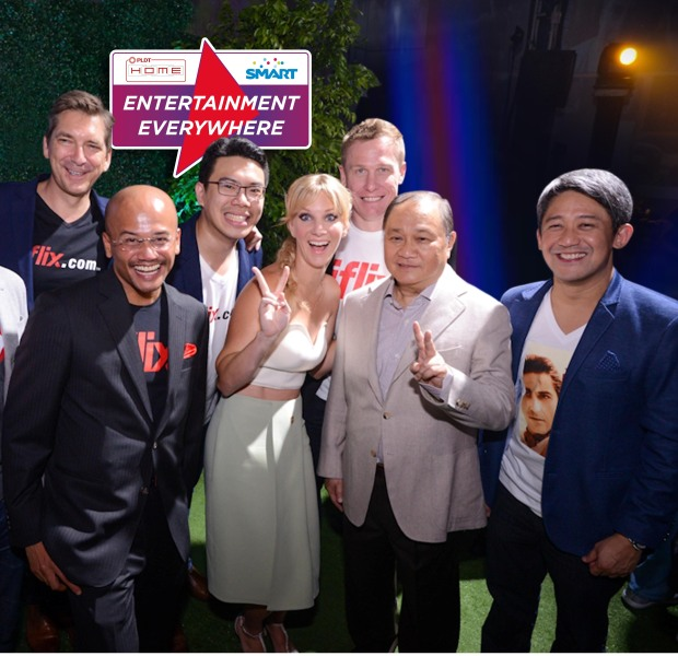 """Three industry leaders teamed up to bring """"Entertainment Everywhere"""" to millions of digitally connected Filipinos. PLDT HOME, Smart and iFLIX recently announced their partnership for content streaming of the Philippines' largest library of movies and TV shows. In photo during the grand launch are (front row, from left): iflix Group COO and iflix Malaysia CEO Azran Osman-Rani, Glee star Heather Morris, PLDT Group Chairman Manny V. Pangilinan and PLDT EVP and Consumer Business Group Head Ariel P. Fermin; and (back row, from left): iflix Group Chief Content Officer James Bridges, iflix Philippines Country Manager Sherwin dela Cruz and iflix Group Chief Technology Officer Ash Crick."""